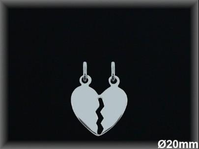 Colgantes plata lisa corazón partido-20 mm-