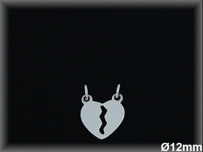 Colgantes plata  lisa corazon partido-12 mm-