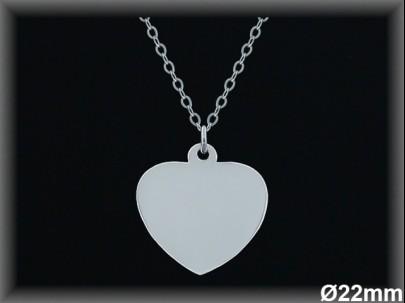 Colgantes plata lisa corazón -22 mm- cad 73950A