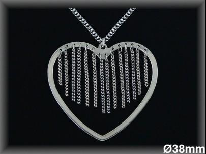 Colgantes plata rodio corazón/cadenitas 38mm./ cad. barb.
