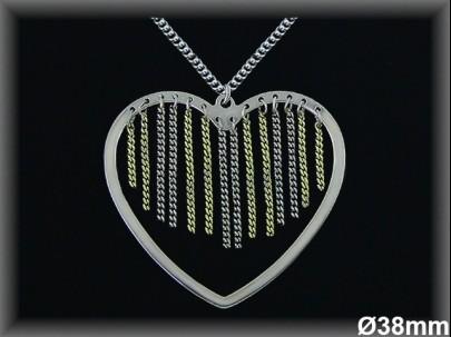 Colgantes plata rodio corazón/cadenitas bichap s 38mm./ cad. barb.