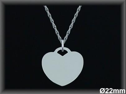 Colgantes plata lisa corazón -22 mm-cad 7302b/7367b