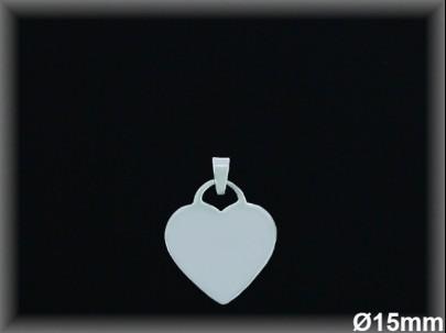 Colgantes plata  corazon liso 15 mm