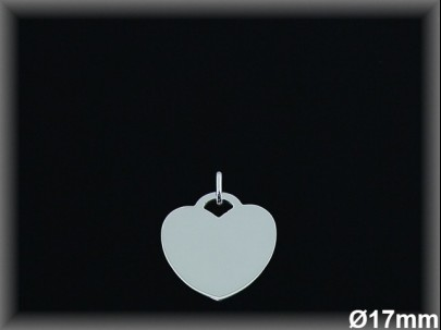 Colgantes plata corazón liso17 mm.