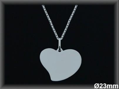 Colgantes plata lisa corazón -23mm- cad7300b